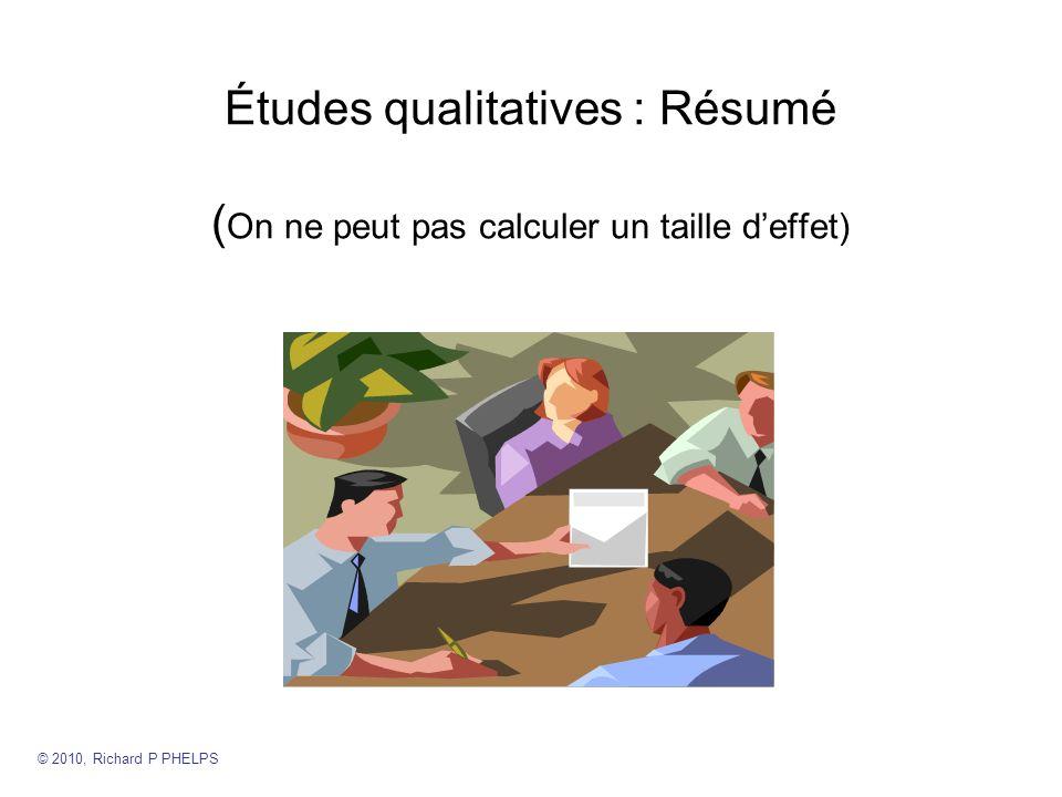 Études qualitatives : Résumé (On ne peut pas calculer un taille d'effet)