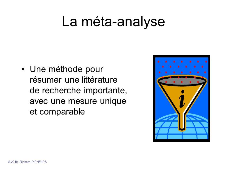La méta-analyse Une méthode pour résumer une littérature de recherche importante, avec une mesure unique et comparable.