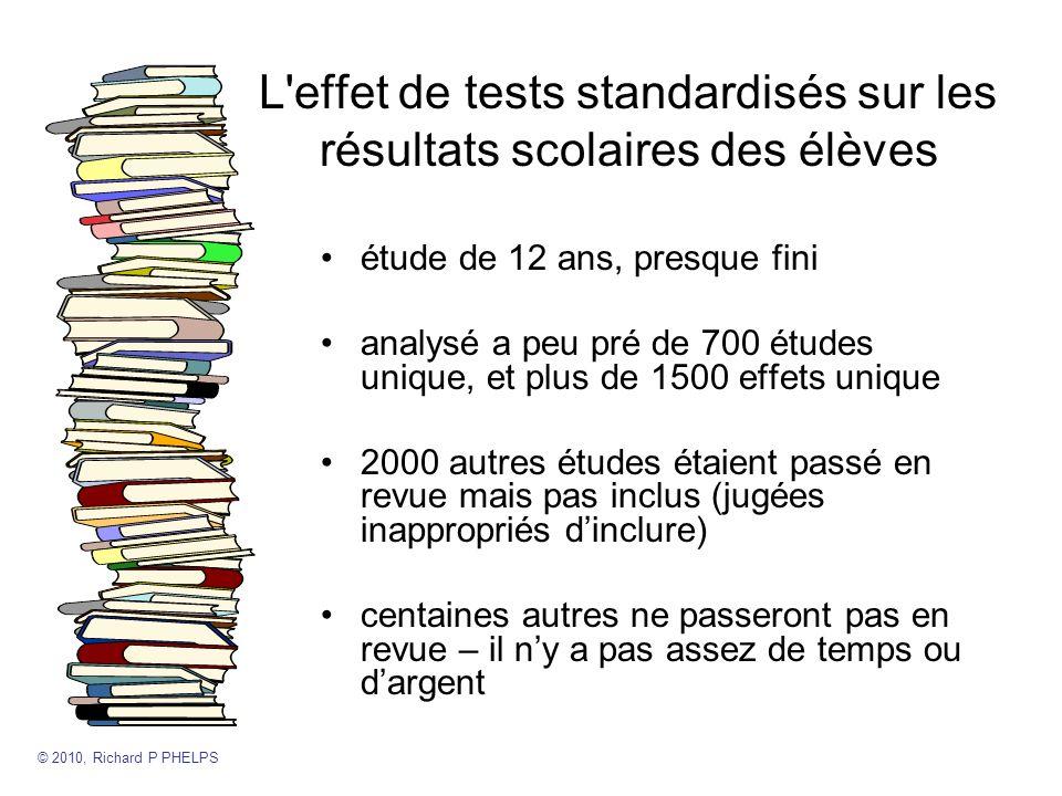 L effet de tests standardisés sur les résultats scolaires des élèves