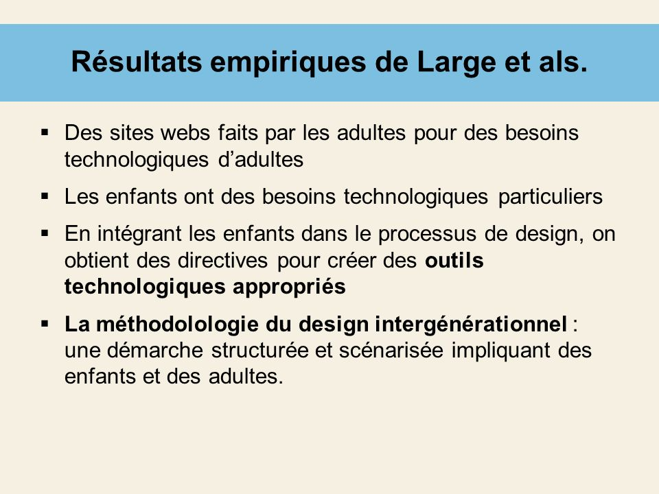 Résultats empiriques de Large et als.