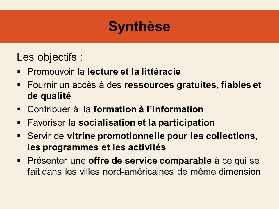 Synthèse Les objectifs : Promouvoir la lecture et la littéracie