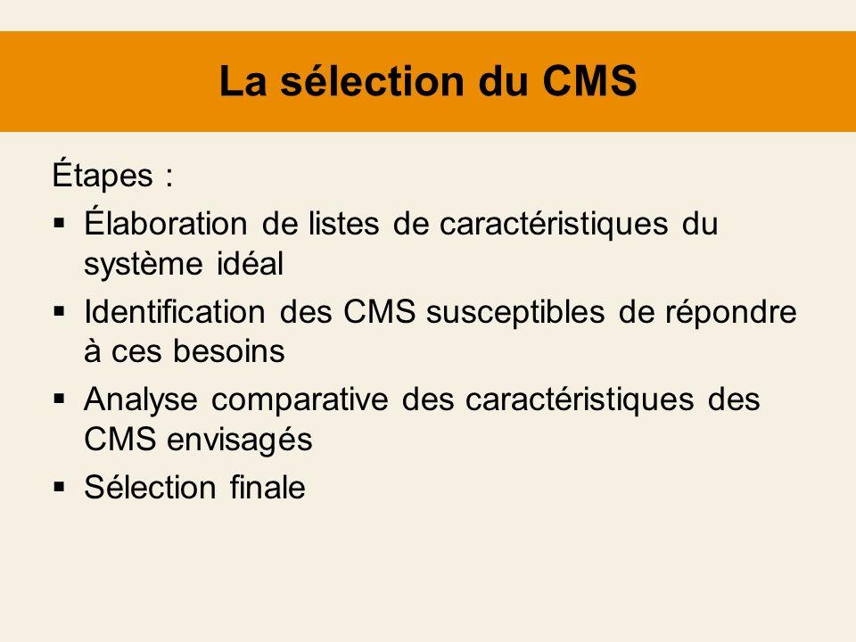 La sélection du CMS Étapes :