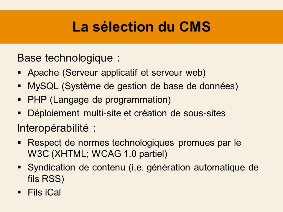 La sélection du CMS Base technologique : Interopérabilité :