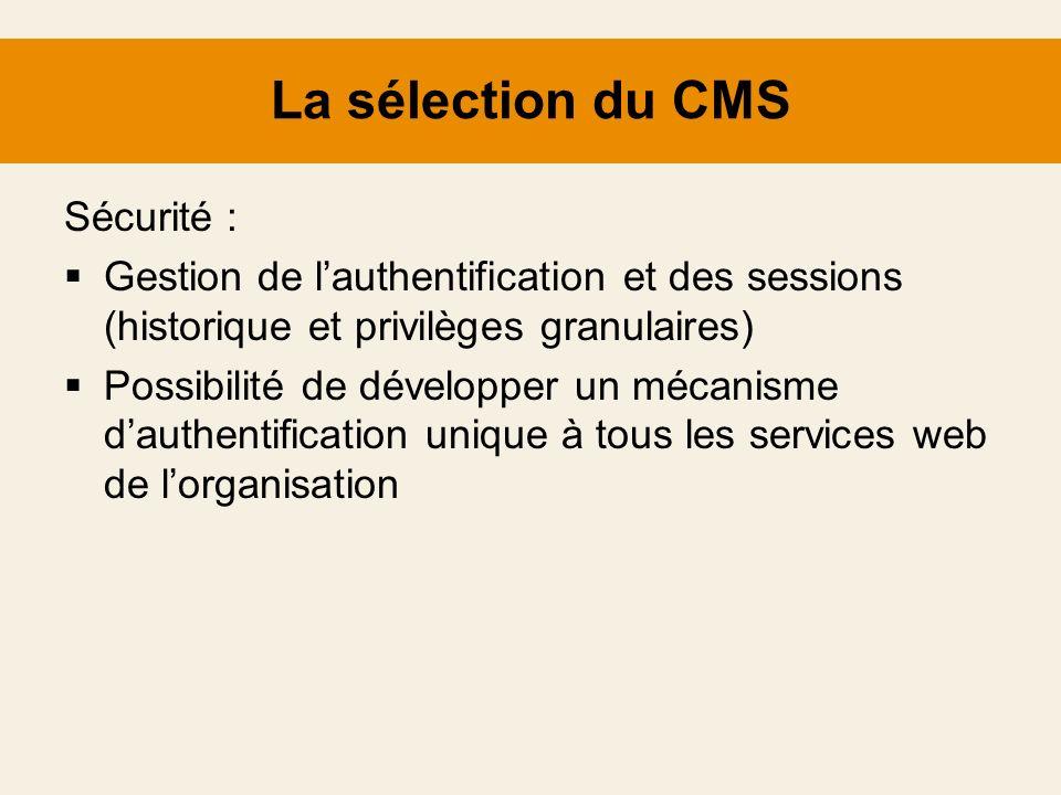La sélection du CMS Sécurité :