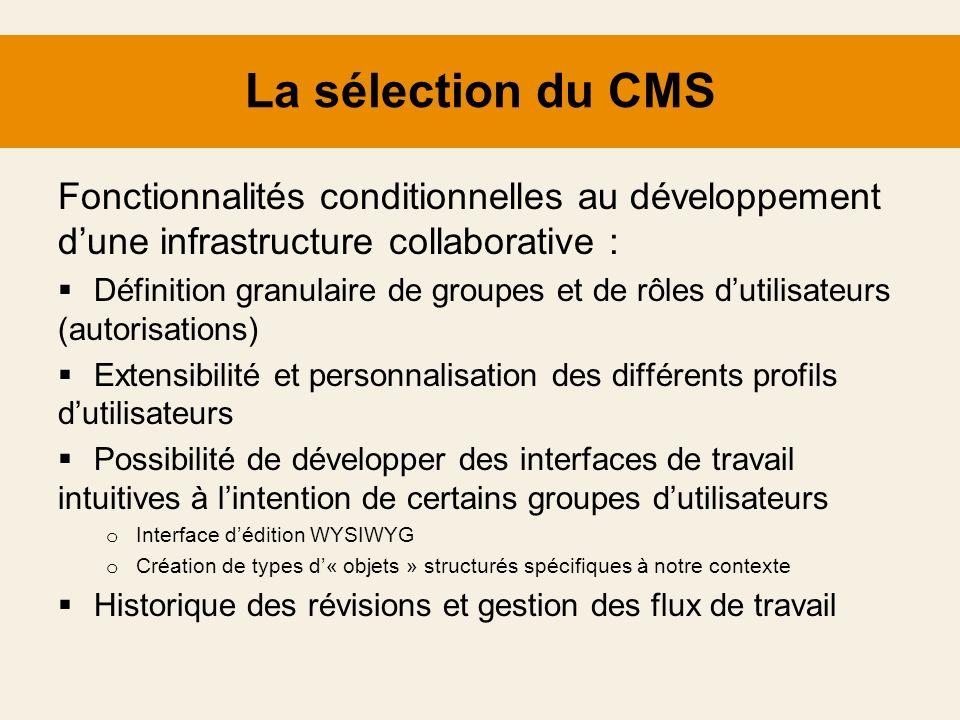 La sélection du CMS Fonctionnalités conditionnelles au développement d'une infrastructure collaborative :