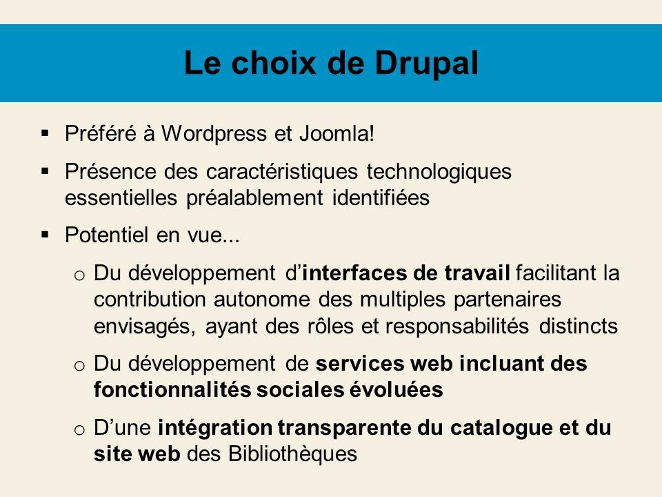 Le choix de Drupal Préféré à Wordpress et Joomla!