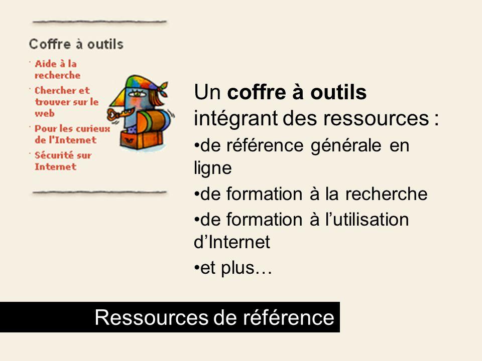 Un coffre à outils intégrant des ressources :