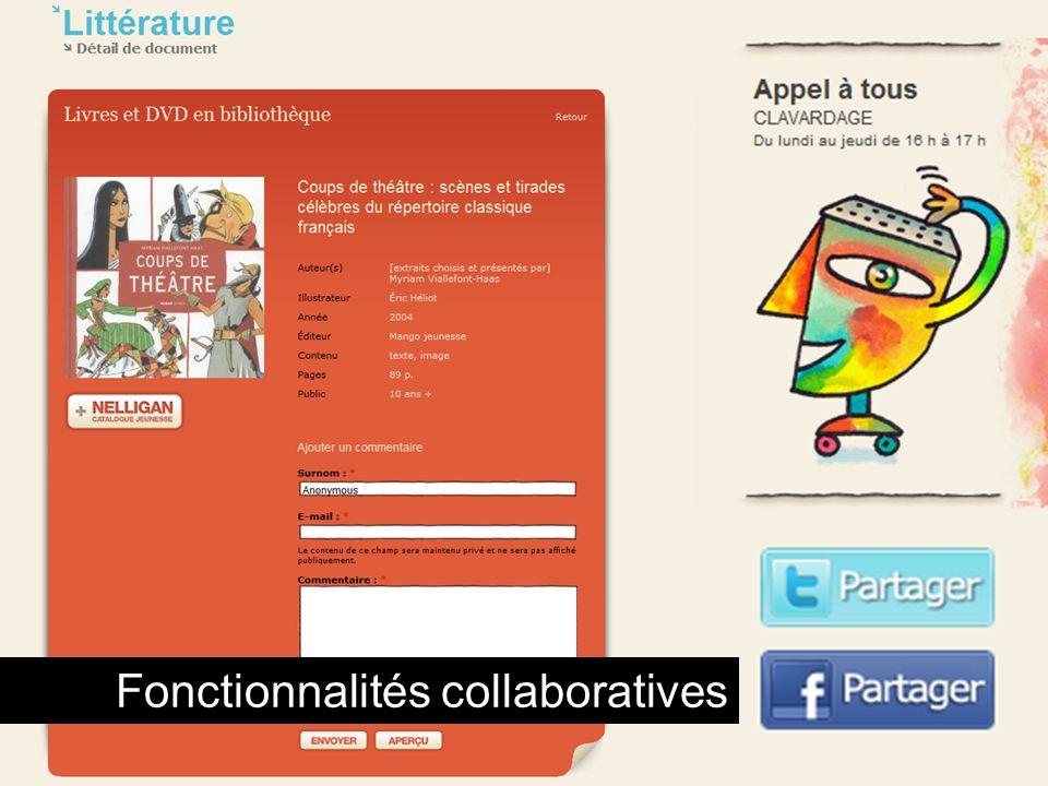 Fonctionnalités collaboratives