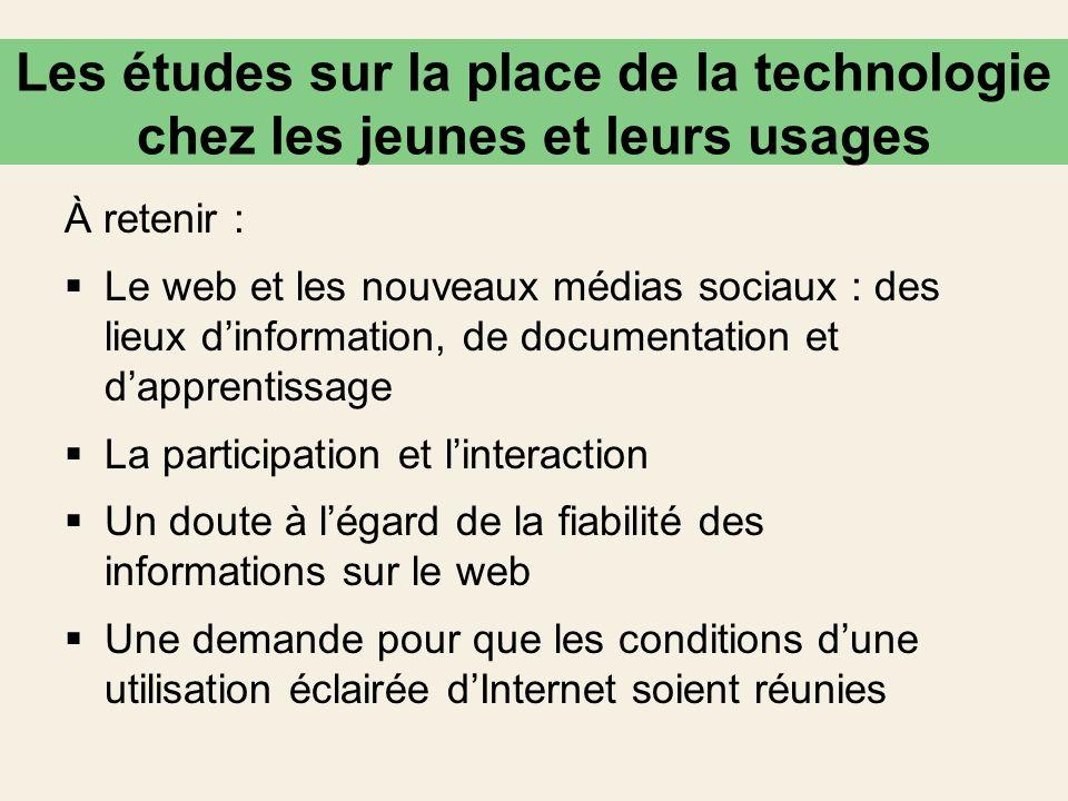 Les études sur la place de la technologie chez les jeunes et leurs usages