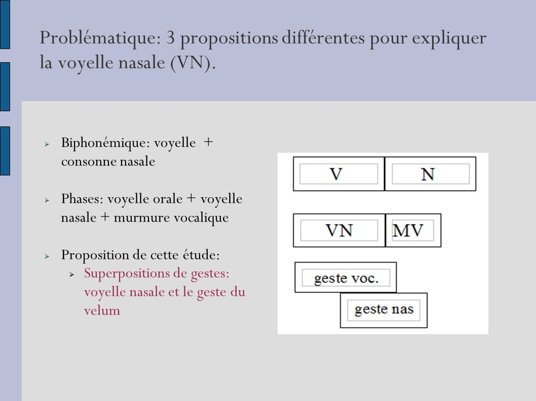 Problématique: 3 propositions différentes pour expliquer la voyelle nasale (VN).