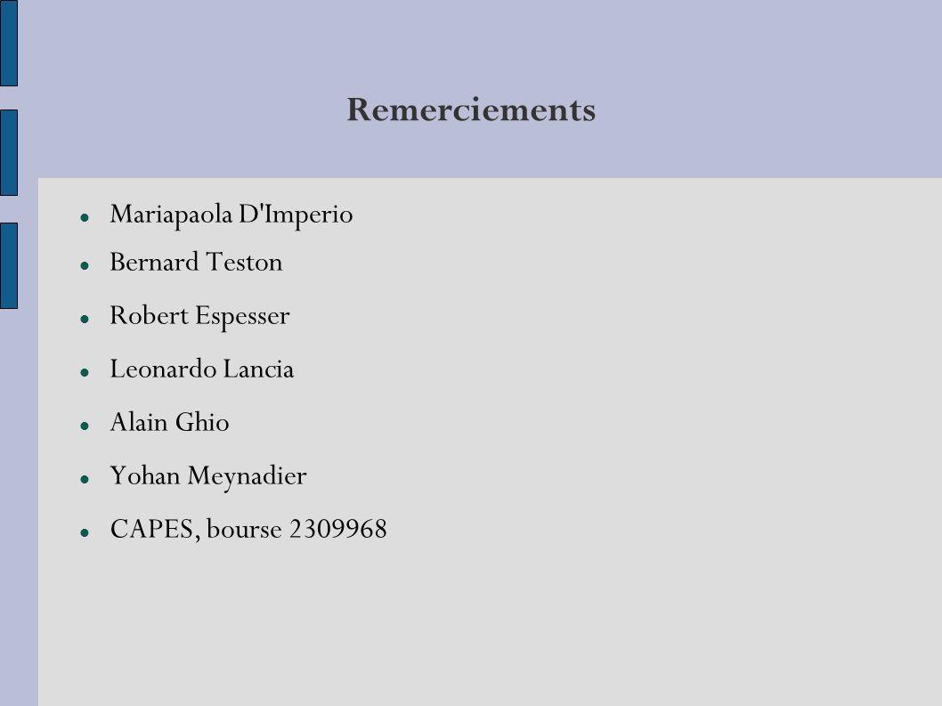 Remerciements Mariapaola D Imperio Bernard Teston Robert Espesser