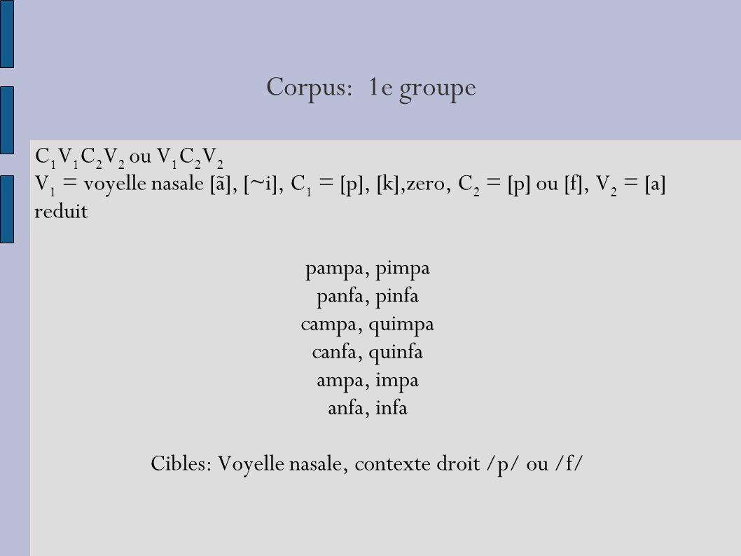 Cibles: Voyelle nasale, contexte droit /p/ ou /f/