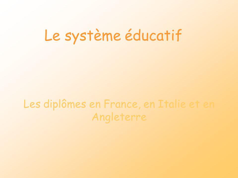 Les diplômes en France, en Italie et en Angleterre