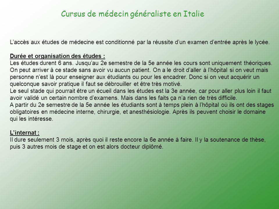 Cursus de médecin généraliste en Italie
