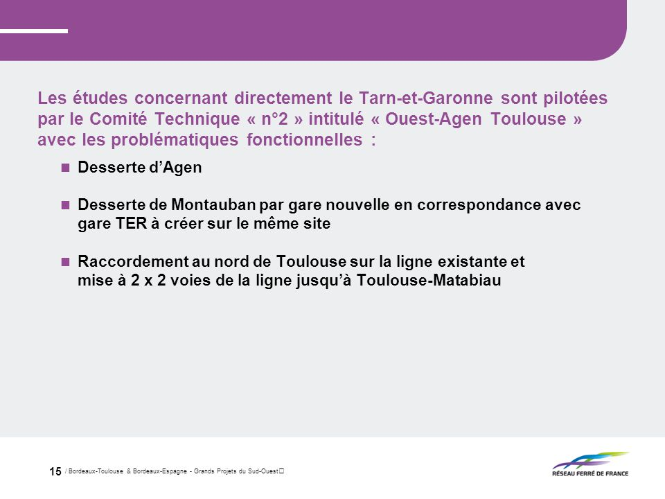 Les études concernant directement le Tarn-et-Garonne sont pilotées par le Comité Technique « n°2 » intitulé « Ouest-Agen Toulouse » avec les problématiques fonctionnelles :