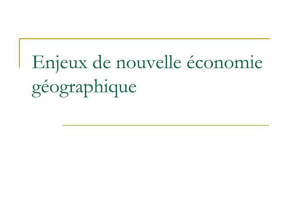 Enjeux de nouvelle économie géographique
