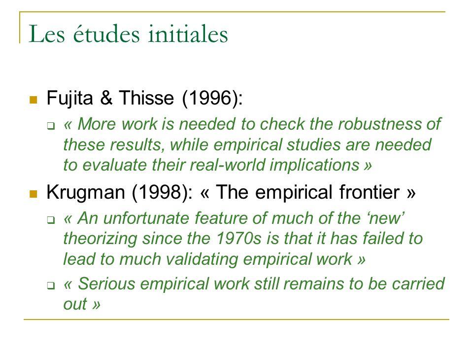 Les études initiales Fujita & Thisse (1996):