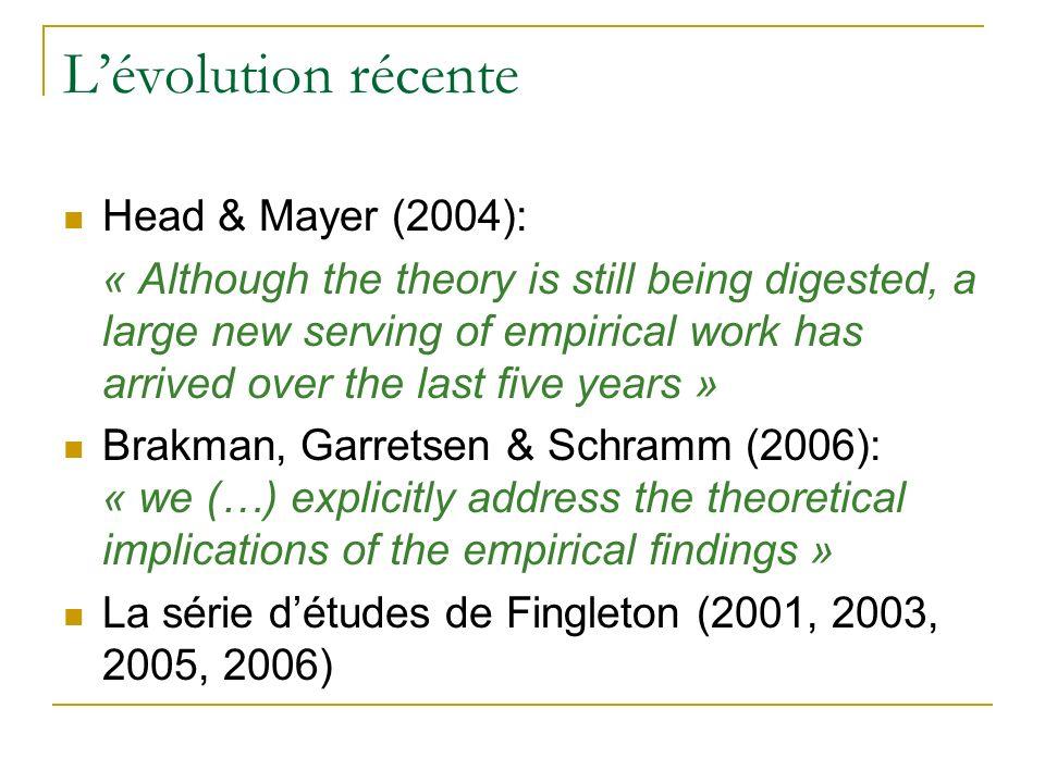 L'évolution récente Head & Mayer (2004):