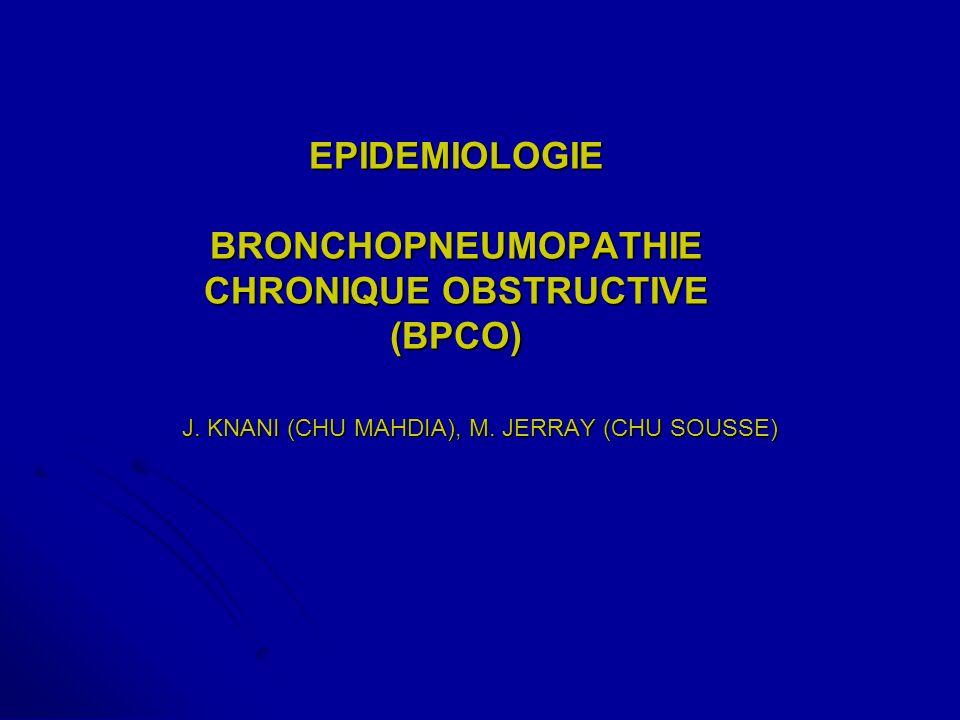 EPIDEMIOLOGIE BRONCHOPNEUMOPATHIE CHRONIQUE OBSTRUCTIVE (BPCO)