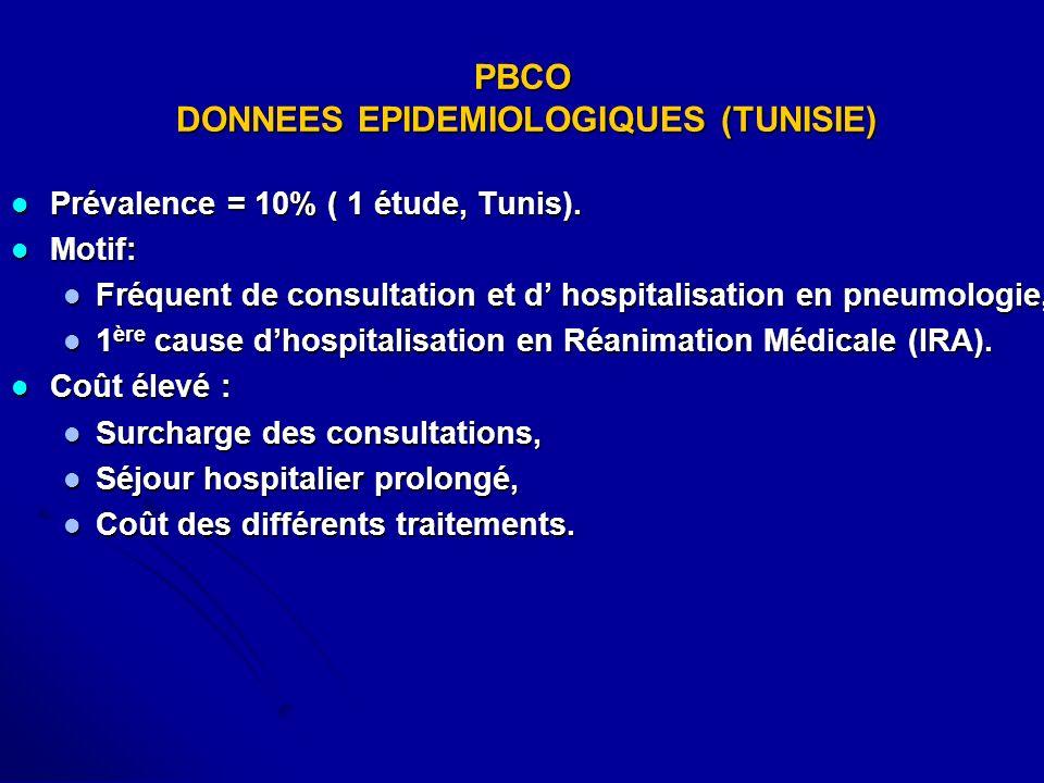 PBCO DONNEES EPIDEMIOLOGIQUES (TUNISIE)