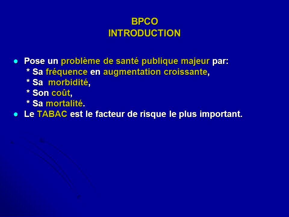 BPCO INTRODUCTION Pose un problème de santé publique majeur par: