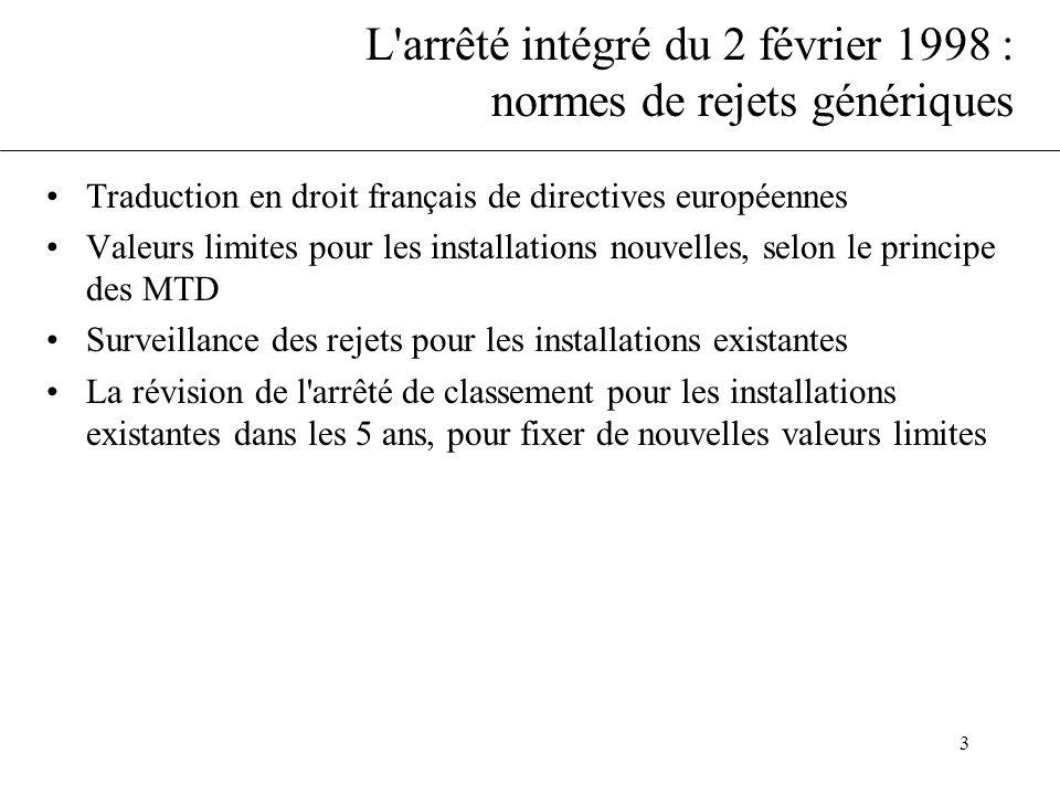 L arrêté intégré du 2 février 1998 : normes de rejets génériques