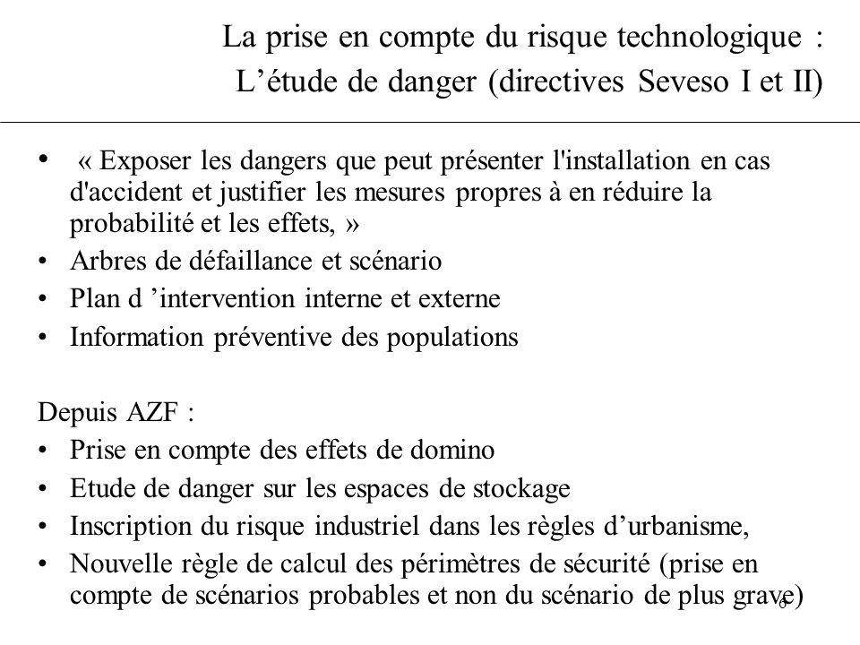 La prise en compte du risque technologique : L'étude de danger (directives Seveso I et II)