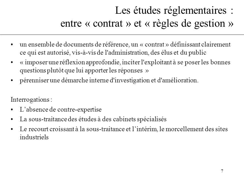Les études réglementaires : entre « contrat » et « règles de gestion »