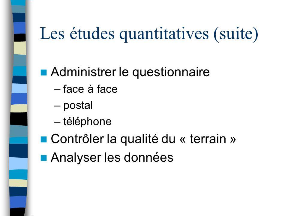 Les études quantitatives (suite)