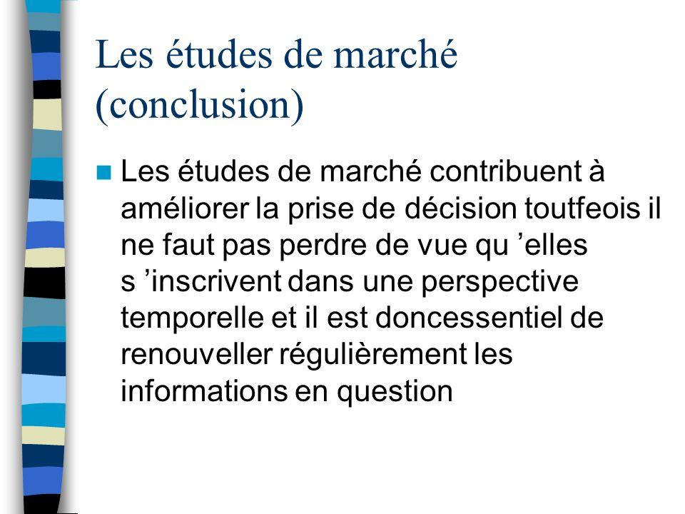 Les études de marché (conclusion)