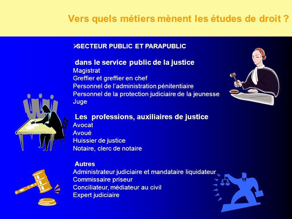 Vers quels métiers mènent les études de droit