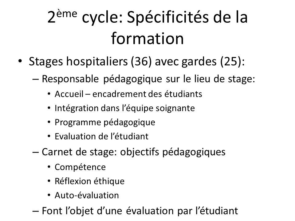 2ème cycle: Spécificités de la formation