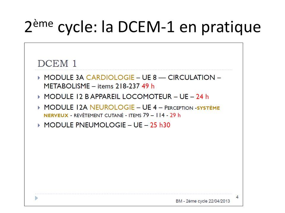 2ème cycle: la DCEM-1 en pratique