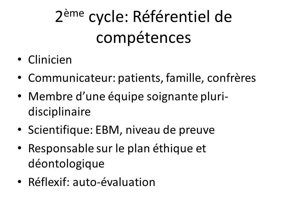 2ème cycle: Référentiel de compétences