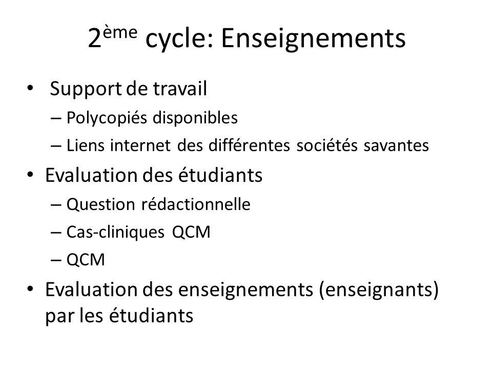 2ème cycle: Enseignements