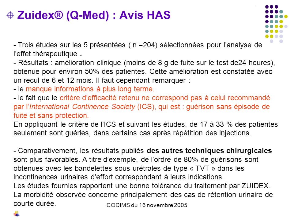 Zuidex® (Q-Med) : Avis HAS