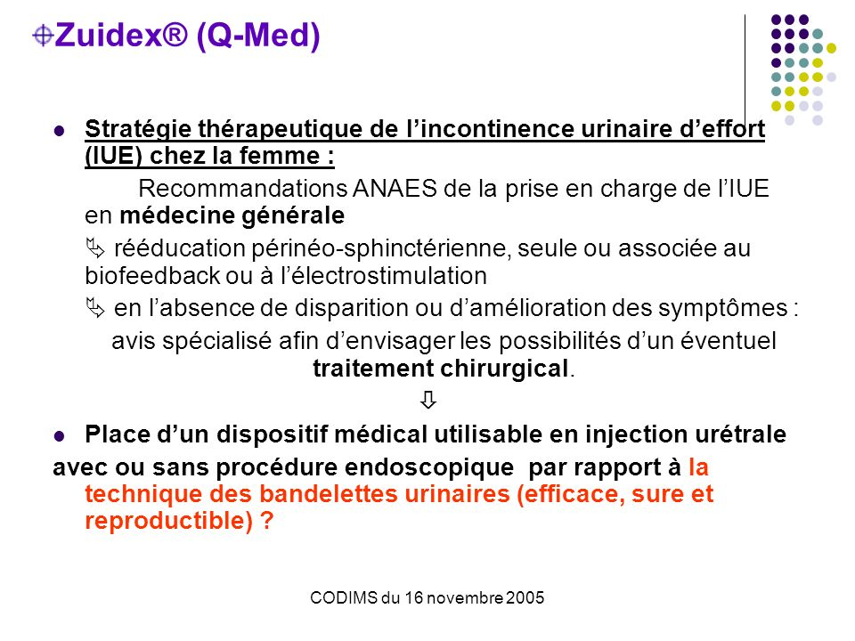 Zuidex® (Q-Med) Stratégie thérapeutique de l'incontinence urinaire d'effort (IUE) chez la femme :