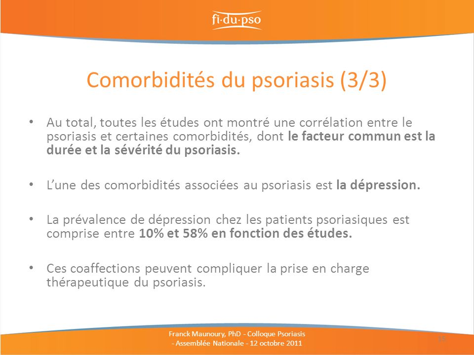 Comorbidités du psoriasis (3/3)
