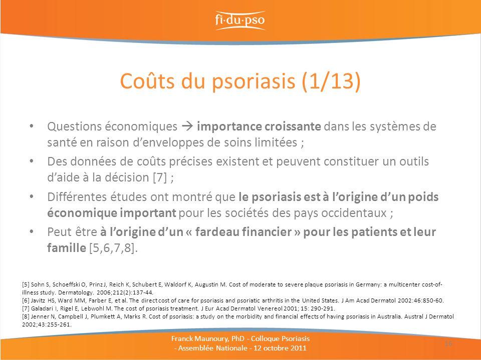 Coûts du psoriasis (1/13) Questions économiques  importance croissante dans les systèmes de santé en raison d'enveloppes de soins limitées ;
