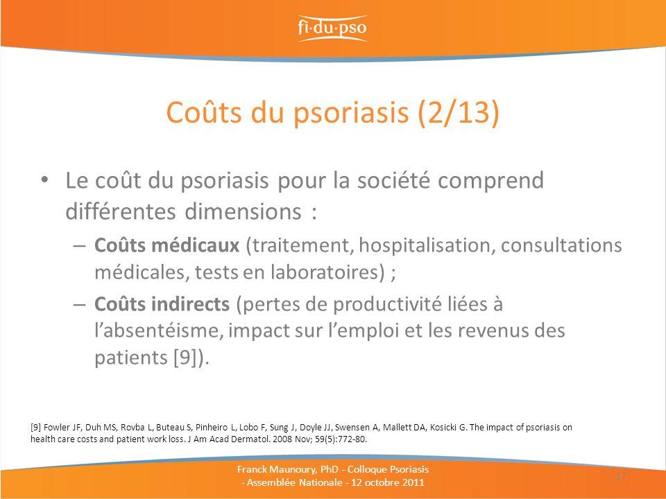 Coûts du psoriasis (2/13) Le coût du psoriasis pour la société comprend différentes dimensions :