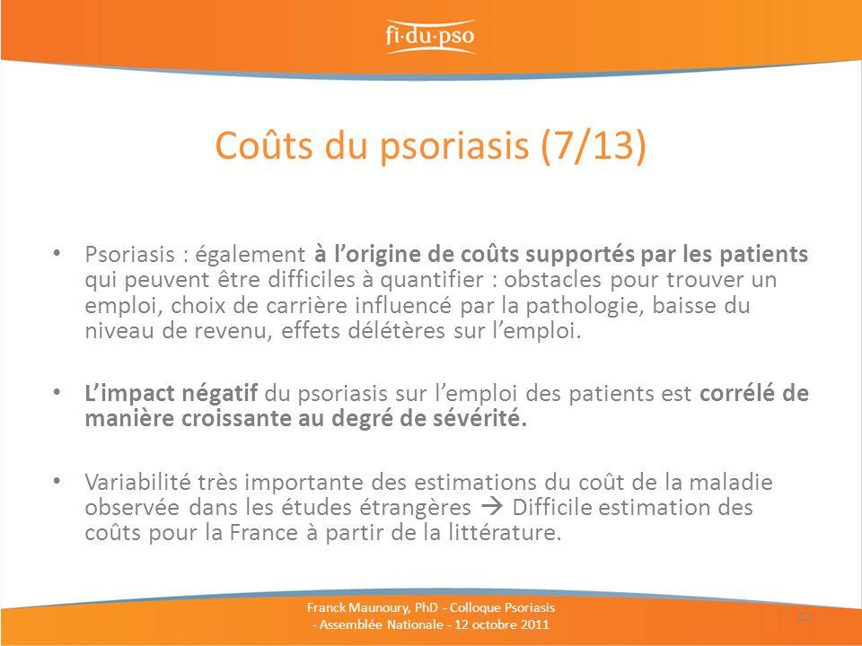 Coûts du psoriasis (7/13)