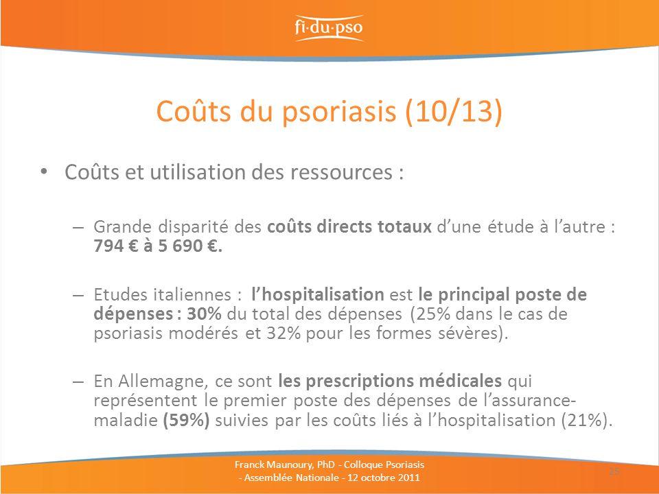 Coûts du psoriasis (10/13) Coûts et utilisation des ressources :