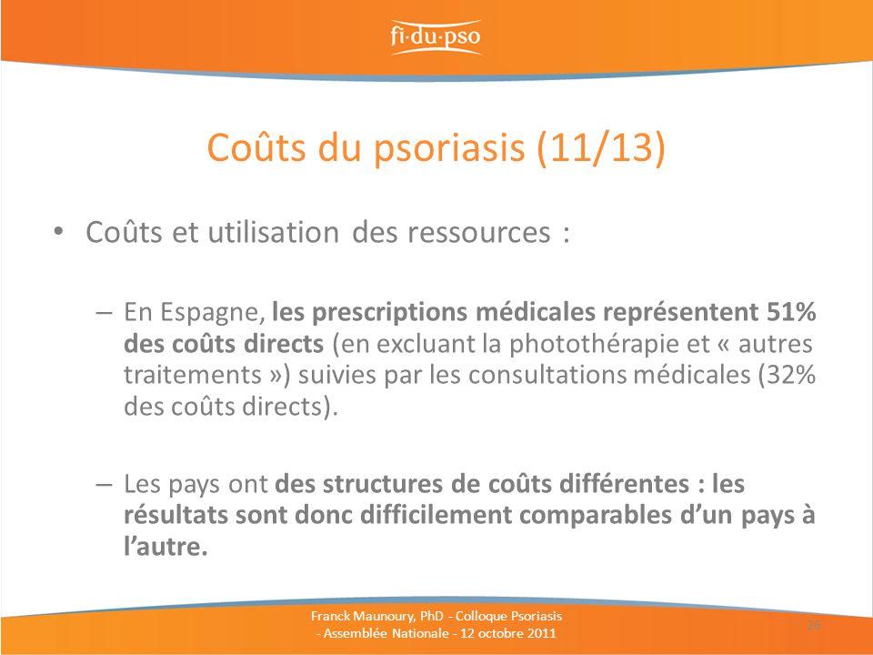 Coûts du psoriasis (11/13) Coûts et utilisation des ressources :