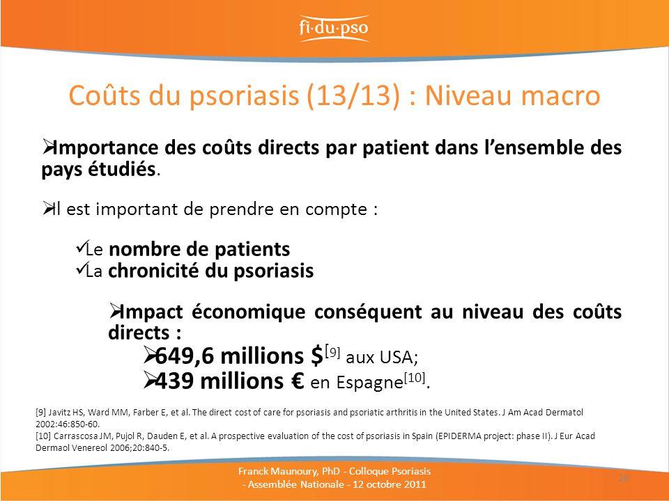 Coûts du psoriasis (13/13) : Niveau macro