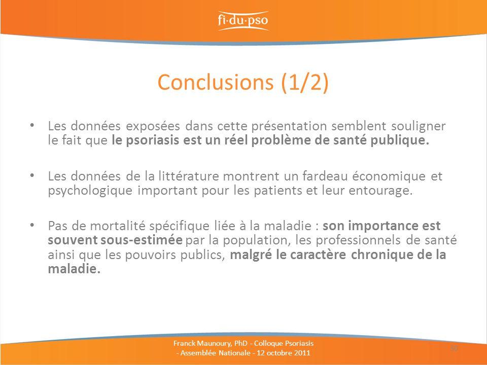 Conclusions (1/2) Les données exposées dans cette présentation semblent souligner le fait que le psoriasis est un réel problème de santé publique.