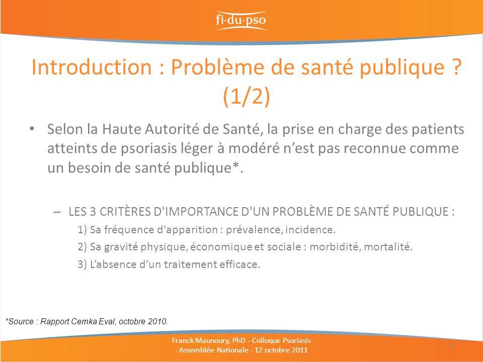 Introduction : Problème de santé publique (1/2)