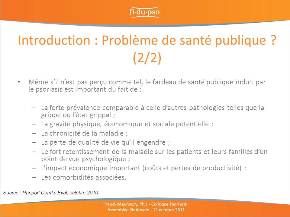 Introduction : Problème de santé publique (2/2)