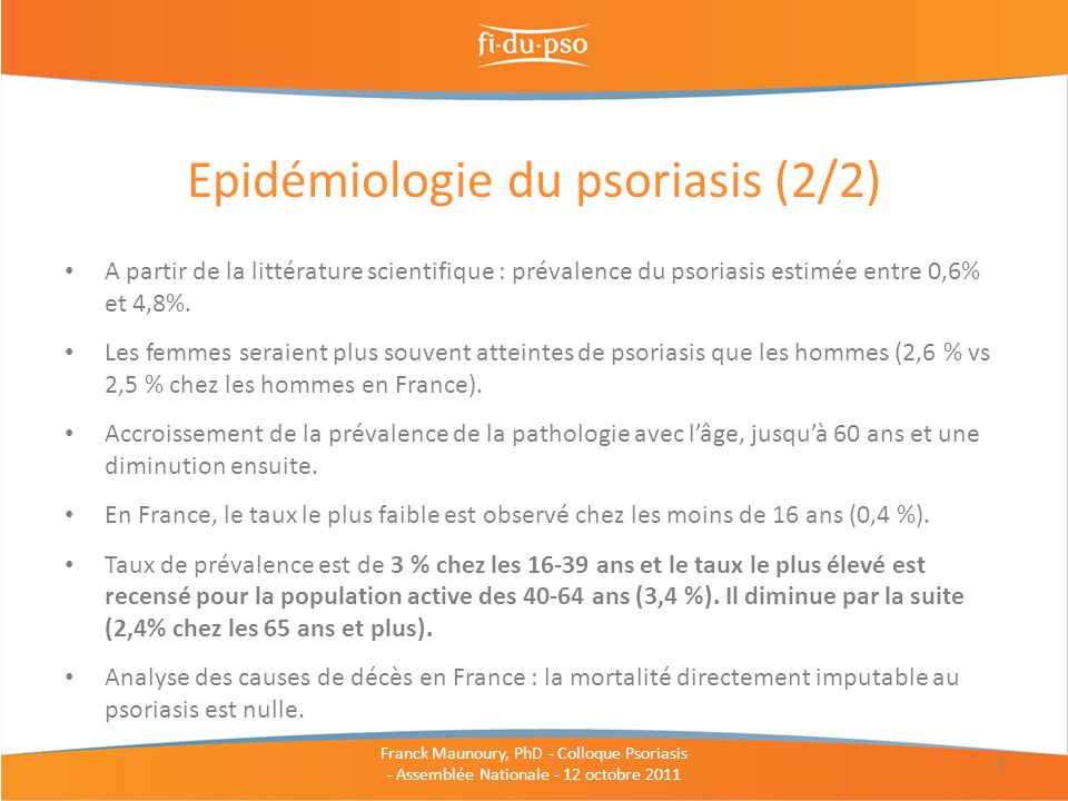 Epidémiologie du psoriasis (2/2)