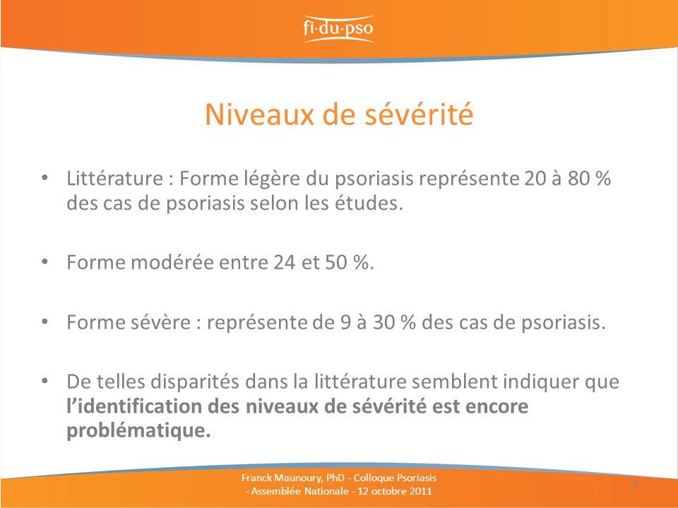 Niveaux de sévérité Littérature : Forme légère du psoriasis représente 20 à 80 % des cas de psoriasis selon les études.