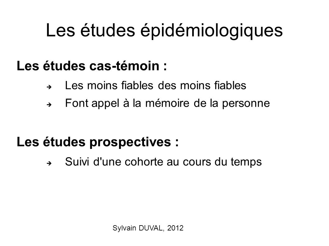 Les études épidémiologiques